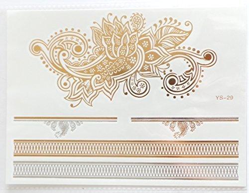 Réf071 LT.134 - Tattoo Ephémère Doré - Tatouage Temporaire Or et Argenté - Planche Fleur de Lotus Bouddhiste