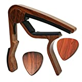 MOREYES Guitar Capo for Acoustic Guitar ,Ukelele, Electric Guitar,Bass with Wood Color Guitar