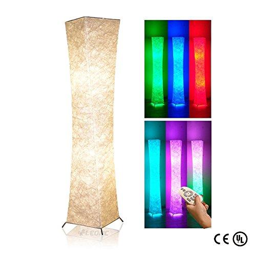 LEONC Kreative Stehleuchte RGB Farbwechsel LED Tyvek Fabric Shade Dimmable Fernbedienung LOUNGE DESIGN STEHLAMPE Bodenlampe Wohnzimmerlamp (Leinengewebe Stil-1) -