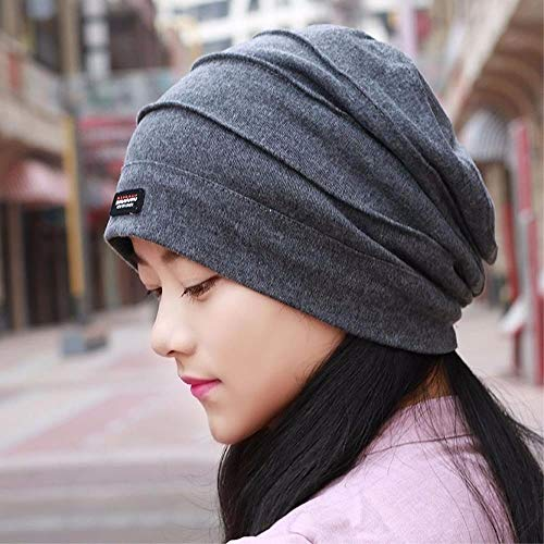 HKHJN Gemeinsame Männer und Frauen Hut, Schal Mütze Satz Kopfkappe Glatze Kappe Ohrkappe fallen schwangere Hüte, grau HKHJN