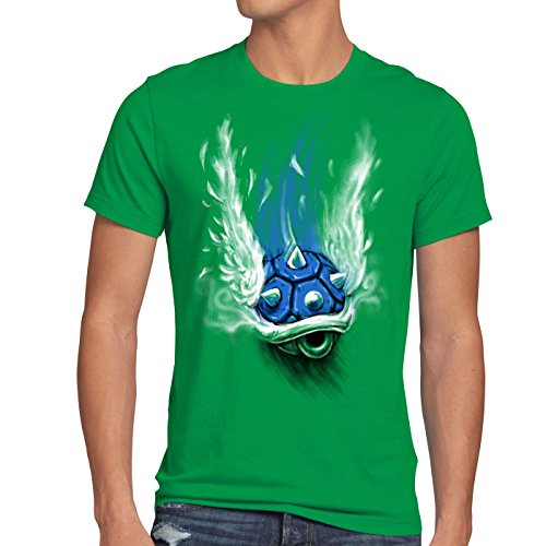 style3 Blauer Panzer T-Shirt Herren kart videospiel konsole mario , Größe:M;Farbe:Grün