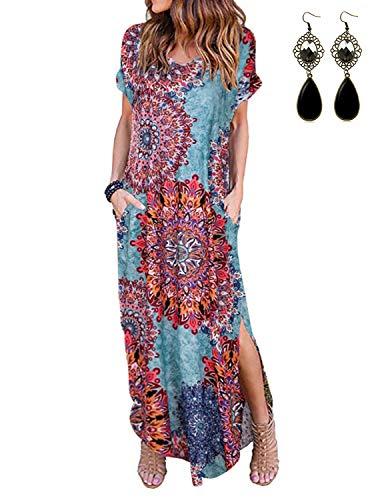 PIPIHU Damen Kleider Maxi Sommerkleid Casual V-Ausschnitt Kurzarm Split Lange Strandkleid Swing Boho Blumenmuster Kleid, Pfauenblau XXL