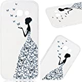 WeLoveCase Samsung Galaxy A5 2017 Case, Premium Ultra Slim Thin Silicone Flexible Quality TPU Soft Pattern Design Cute Clear Cover, Gel Plastic Protective Shock Absorption Proof Drop Defend Anti Scratch Shell for Samsung Galaxy A5 2017 - Butterfly Girl