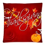 Linkla Danniol Custom Happy Thanksgiving Day Zippered Square Throw Pillow Cover Cushion Case 18x18 (Twin Sides)