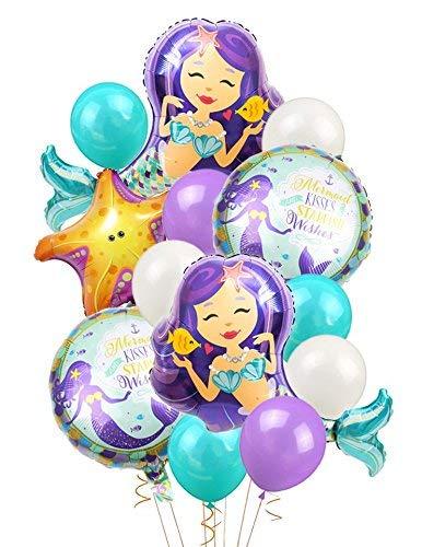 LUCK COLLECTION Meerjungfrau Ballons Birthday Party Supplies Meerjungfrau Mylar Balloons für Meerjungfrau unter dem Meer Geburtstag Party Baby Shower Dekorationen