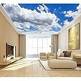 BIZHIGE Grand Bleu Ciel Nuage Mural 3D Plafond Murale Papier Peint pour Murs Salon Hall 3D Mur Murales Murales 3D Papier Peint Autocollant-360 × 230 Cm