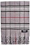 ADAMANT Damen Schal | Made in Germany | Hellgrau Karo Muster