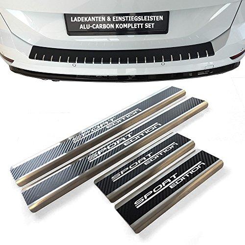 Preisvergleich Produktbild Tuneon 316 Set: Edelstahl Einstiegsleisten & Alu Ladekantenschutz mit Schriftzug