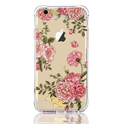Coque iPhone 6/6s, LUOLNH Absorption des chocs TPU Bumper Protection Goutte ,Résistant aux rayures pour Apple iPhone 6/6s Silicone Étui Housse Protecteur -Pivoine Rose fleur rose