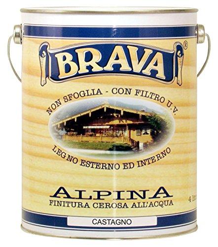 BRAVA ALC4Alpina Finish cerosa für Holz wasserfest, kastanie, 4000ml (Kastanien-farbstoffe)