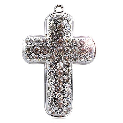 818-Shop No27300030064 USB-Sticks (64 GB) Kreuz Kruzifix Diamant silber