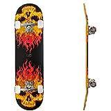 Fxexblin komplettes Skateboard Caster Board Holzboard ABEC-7 Kugellager 80A PU Räder 31x8 Inch(79x20cm) Fire Flames