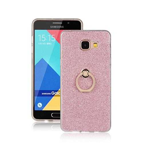 Skitic Bling Glitter Sticker Pellicola Custodia per Samsung Galaxy A5 (2016), Lusso Ultra Sottile Morbido TPU Bumper Brillare Posteriore Protettiva Case Cover con 360 Degree Rotating Metallo Ring Stand Holder - Rosa