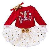 Voberry 3 Pezzi Vestito da Natale per Bambina My 1st Christmas Tops Pagliaccetto + Abito Tutu con Stella Bling + Fascia per Capelli Abiti Natalizi per Ragazze 0-24 Mesi