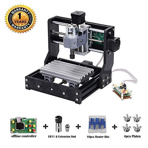 Actualice la versión CNC 1610 Pro GRBL Control DIY Mini CNC Machine, Fresadora de PCB de 3 ejes, Grabadora de madera con controlador fuera de línea, con ER11 y varilla de extensión de 5 mm