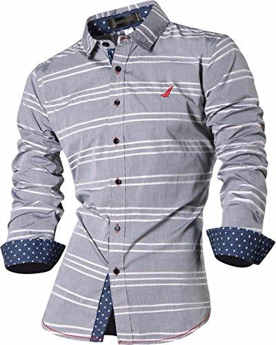 Sportrendy Homme Chemises Casual Chemise a Carreaux Manches Longues Mode Men Fashion Plaid Shirt Slim Fit Long Sleeves Dress Shirt MFN2_MAJ001 MAJ004_Gray