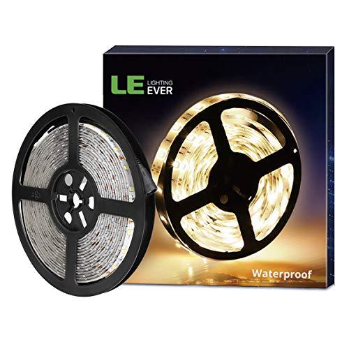 LE 5M LED Strip, IP65 wasserfest LED Streifen, Warmweiß Lichtkette 12V mit 300 LEDs, 2835 SMD Flexible LED Band, ideal für Decke, Deko, Küche, Innenraum usw. -