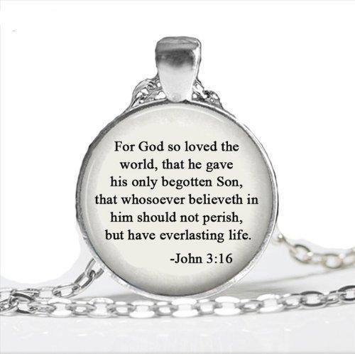 So hat Gott die Welt geliebt Schmuck, Scripture John 3: 16Zitat Halskette, Bibel Gebet Religiöse Schmuck