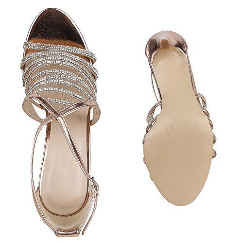 Party Damen Sandaletten | Glitzer High Heels | Plateau Sandaletten Strass Nieten | Damenschuhe Snake Lack | Stilettos Schnallen Schuhe Rose Gold Silber Steinchen