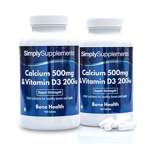 Calcio 500mg y Vitamina D3 200iu - 2 botes de 180 Comprimidos - hasta