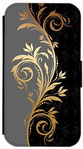 Flip Cover Schutz Hülle Handy Tasche Etui Case für (Apple iPhone 4 / 4s, 628 Delfin im Meer Delphin Blau Grau) 623 Tattoo Style Schwarz Gold Grau