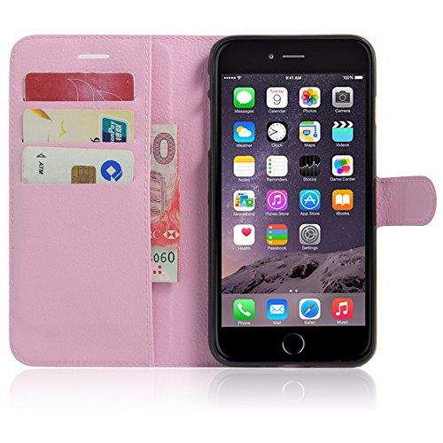 Bumper für Apple iPhone 8 Plus 5.5 Zoll aufstellbare Hülle in Leder-Optik Flipcase extra dünn mit Kartenfächern Hellrosa