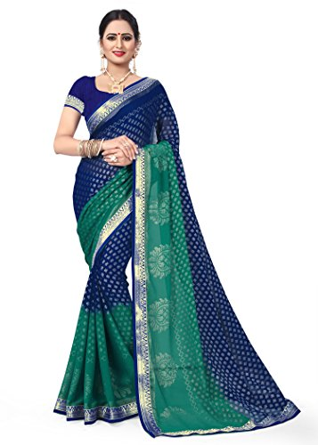 OOMPH! Brasso Saree (Rbaf_1473_Berry Blue Free Size)