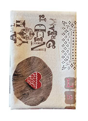 M&o tovaglia no stiro stampa shabby 12 persone love is sweet variante rossa idea regalo per san valentino