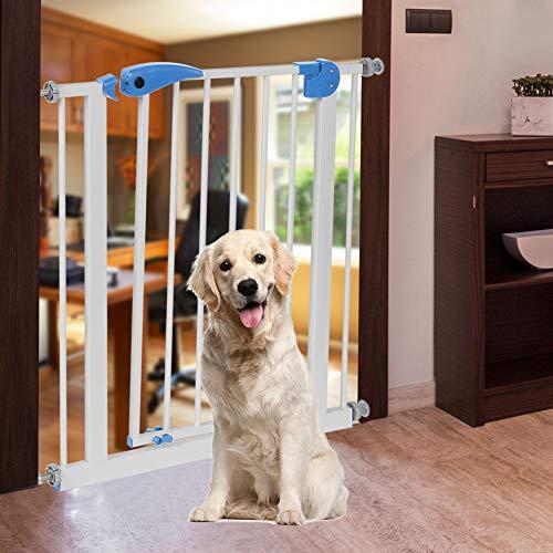 Barrera de Seguridad para Niños y Mascotas Puerta de Metal para Perros Ajustable, 76 x 79 x 3.5 cm(Turquesa)