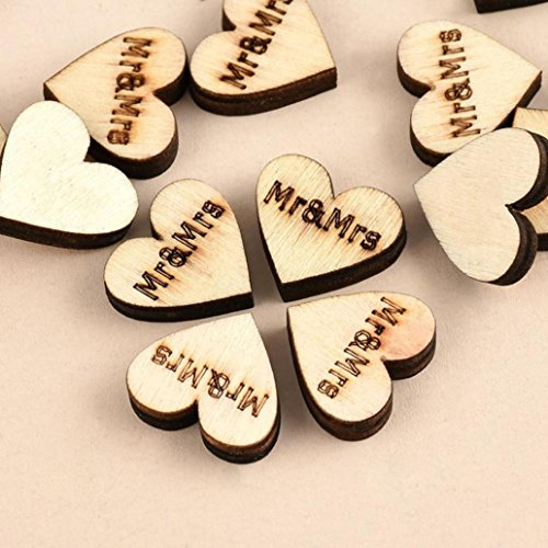 Greenlans Rustic Wooden 100pcs Wood Love Heart Stars Wedding Table Scatter Decoration Crafts