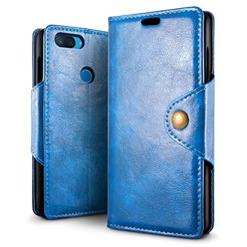 SLEO Funda para Xiaomi Mi 8 Lite Cuero Funda [ Ranuras para Tarjetas] [Cierre Magnético] Soporte Plegable Flip Case Protección De Cuerpo Completo Carcasa Cover
