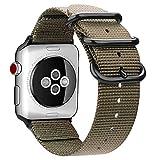 Fintie Armband für Apple Watch Series 4/3 / 2/1 - Premium Nylon atmungsaktive 44mm / 42mm Sport Uhrenarmband verstellbares Ersatzband mit Edelstahlschnallen, Khaki