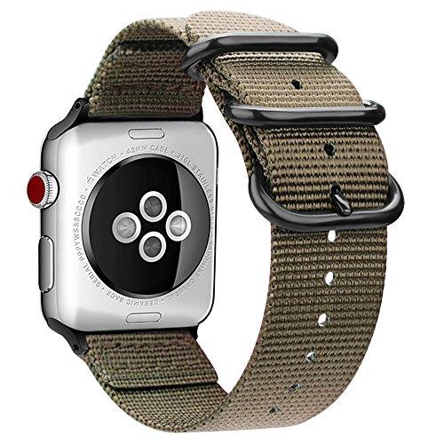 Fintie Armband für Apple Watch Series 4/3 / 2/1 - Premium Nylon atmungsaktive 44mm / 42mm Sport Uhrenarmband verstellbares Ersatzband mit Edelstahlschnallen, Khaki -