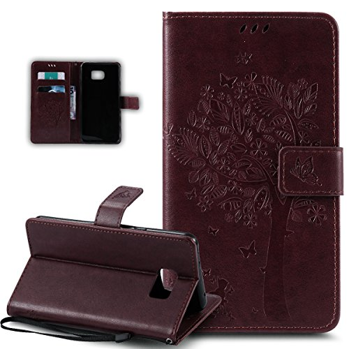 Coque Galaxy S6 Edge,Etui Galaxy S6 Edge, ikasus Coque Galaxy S6 Edge Bookstyle Étui Housse en Cuir Case, Motif Gaufrage Chat papillon Fleur Floral forme arbre Motif Etui Housse Cuir PU Portefeuille Folio Flip Case Cover Wallet Coque Protection Étui avec Flex Soft Silicone TPU et Fonction Support Fermeture Aimantée Carte de crédit Logement Poches Case Coque Housse Étui pour Samsung Galaxy S6 Edge - Marron