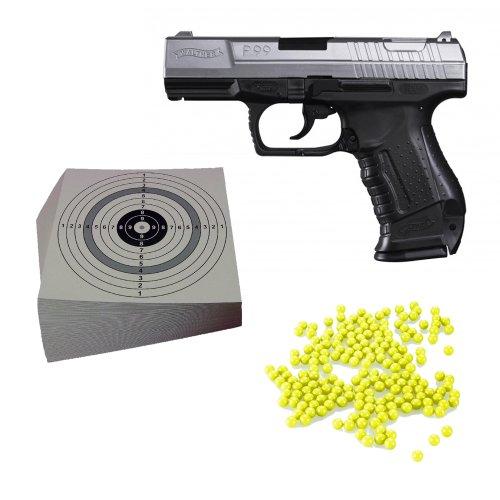 ShoXx.® SET (P14) WALTHER P99 Softair Pistole 0,5 Joule bicolor inkl. Heavy & Hi-Cap Magazin + 2.000 ShoXx.® Softair BB Kaliber 6 mm / 12 g + 25 ORIGINAL ShoXx.® shoot-club Zielscheiben mit zusätzlichen grauen Ring und 250 g/m² zu Shoxx Walther Umarex