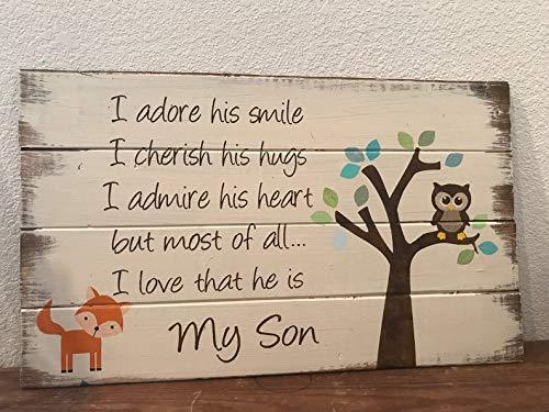 CELYCASY My Son Woodland Kinderzimmerschild Holzschild im Landhaus-Stil, handbemalt, für Jungen und Kinderzimmer, Kinderzimmer -