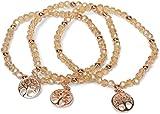 styleBREAKER 3er Set Perlen Armband mit Lebensbaum Charm Anhänger, Gummizug, Kugelarmband, Schmuck, Damen 05040138, Farbe:Rose