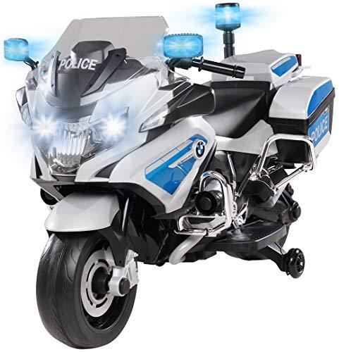 Kinder Elektromotorrad BMW R1200 Polizeimotorrad Elektroauto Elektro Kinderauto 30 Watt Motor Lizenziert mit Blaulicht