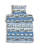 beties Schäfchen zählen Biber Kinderbettwäsche ca. 100x135 + 40x60 cm 100% Baumwolle flauschig weich Farbe Himmelblau 1 Set