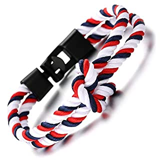Halukakah ● SAIL ● Men's Nylon Rope Cord Bracelet Infinity Loop Blue Red White Handmade Gun Black Clasp 8.26