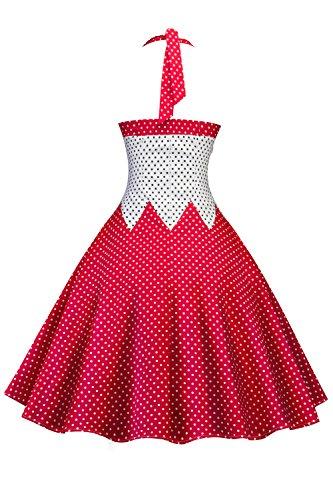 YACUN Les Femmes Vintage Swing Robe Polka Dot Halter Patchwork red