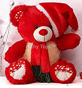 Babique Santa Teddy Bear Plush Stuffed Soft Toys Animals Birthday Gift for Kids 38CM (Red)