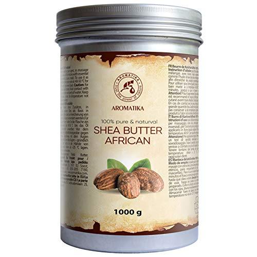 Reine Butter (Shea Butter 1000g - 1 kg - Kaltgepresst & Unraffiniert - Afrika - 100% Rein & Natürlich Karité Body Butter - Körperbutter - Intensive Pflege für Gesicht - Körper - Haare - Körperpflege)