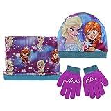 Disney Frozen Set Mütze, Schal und Handschuhe Elsa&Anna flieder
