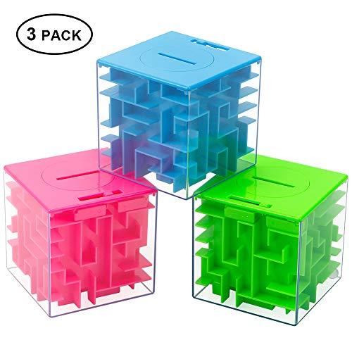 Twister.CK Money Maze Puzzle Box, Money Holder Puzzle para niños y Adultos cumpleaños (Paquete de 3)