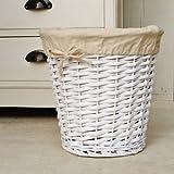 White waste paper wicker bin basket