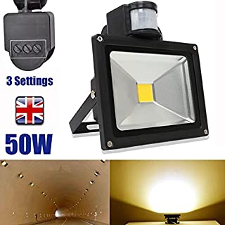 Autofather 50W Security Sensor Light LED PIR Motion Sensor Outdoor Lighting Warning 5000LM Bright Floodlight Waterproof with 3 Settings Easy Installation, 2 Year Warranty