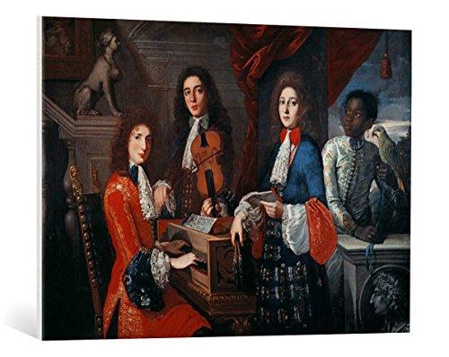 """Quadro su tela: Antonio Domenico Gabbiani """"Drei Musiker am Hofe der Medici"""" - stampa artistica di alta qualità, tela con intelaiatura in legno, quadro pronto per essere appeso, 95x70 cm"""