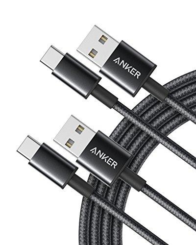 Anker USB C Kabel Typ C Kabel [2 Stück] 1,8 m doppelt-geflochtenes Nylon Type C Ladekabel, für Samsung Galaxy S8 S8+ S9 S9+, HTC 10, Sony XZ, LG V20 G5 G6, Xiaomi 5 (Schwarz) (Anker-premium-usb-kabel)