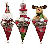 Decdeal 3pcs / set Natale appeso giocattoli Borse Babbo Natale pupazzo di neve regalo renna Candy Bags Decorazioni di Natale Ornamenti